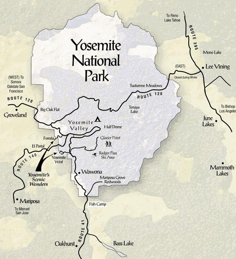 Cartina Yosemite National Park.I Grandi Parchi Americani