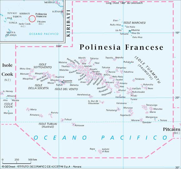 Cartina Mondo Bora Bora.Polinesia Francese